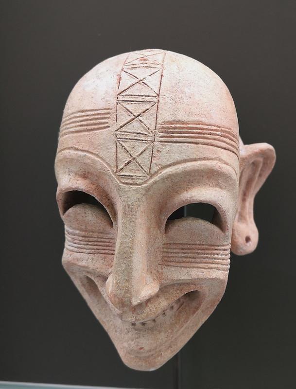 escultura mascara sonriente Punica necrópolis de Cartago sector dermech Museo Nacional del Bardo Tunez