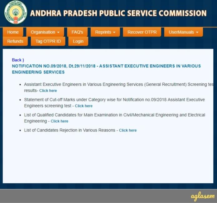 APPSC AEE Results 2019 for Screening Test Declared - Check Here