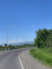 Driving towards the Caucasus Mountains