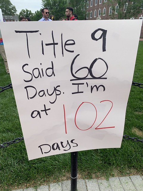 UD student holds silent protest on The Green