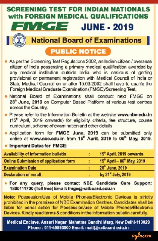 FMGE 2019 June Notice