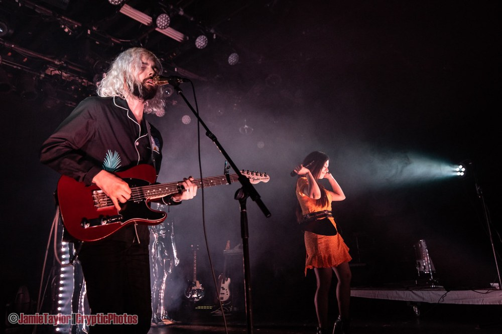 Musicians Shpresa Lleshaj and Cole Randall of Flora Cash performing at The Commodore Ballroom in Vancouver, BC on April 19th 2019