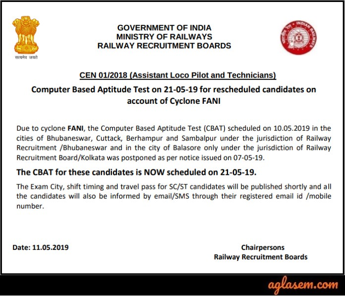 RRB ALP CBT 3 Notice 2019 for Odisha