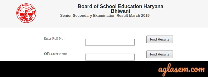 HBSE 12th Name Wise Result 2019