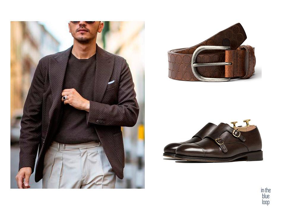 Look de hombre smart-casual con blazer, camiseta, pantalón de pinzas, cinturón nublo en piel marrón de curtición vegetal y zapatos monk marrones