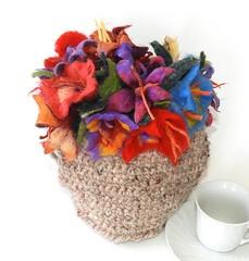 felt flowers tea cosy handspun