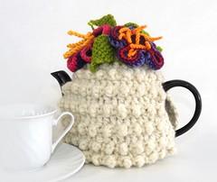White floral tea cosy handspun