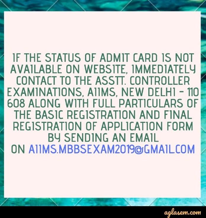 AIIMS MBBS 2019 Admit Card