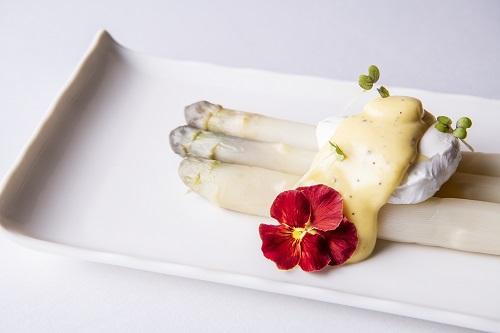 White Asparagus, Poached Organic Free Range Egg, Truffle Hollandaise