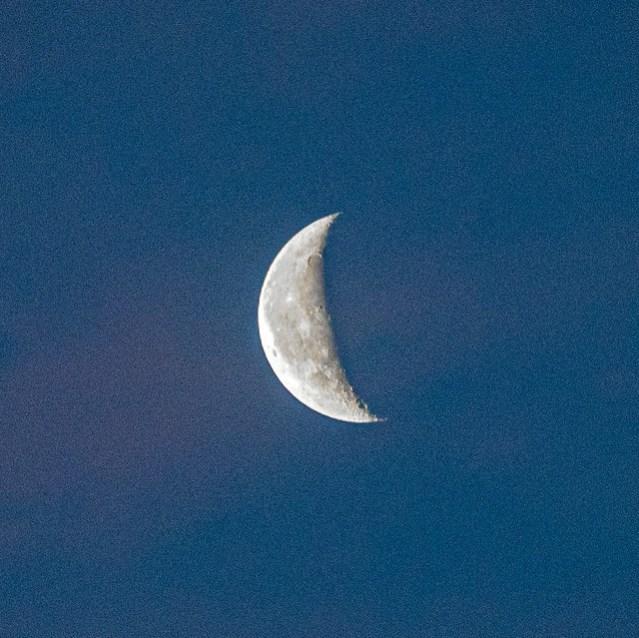 Moon, just before sunrise.