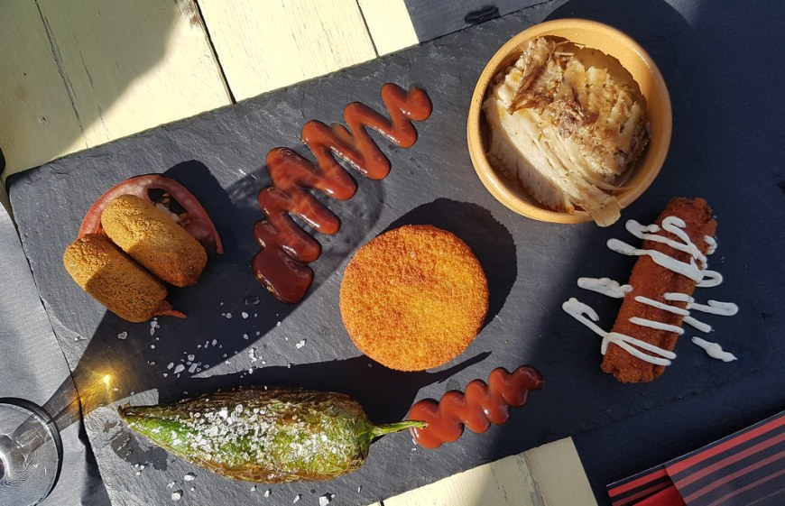 A plate with a selection of tapas