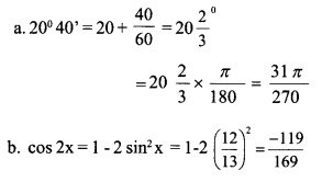 HSSlive Plus One Maths Chapter Wise Previous Questions Chapter 3 Trigonometric Functions 30