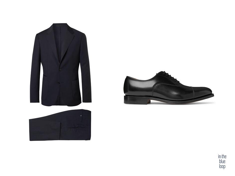 Traje azul marino para hombre con zapatos oxford negro