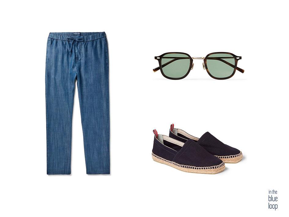 Pantalón azul con alpargatas y gafas de sol para un look casual de hombre