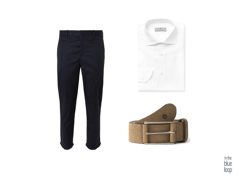 Look smart-casual con pantalón cropped azul marino, camisa blanca y cinturón beige de hombre anaga de blue hole