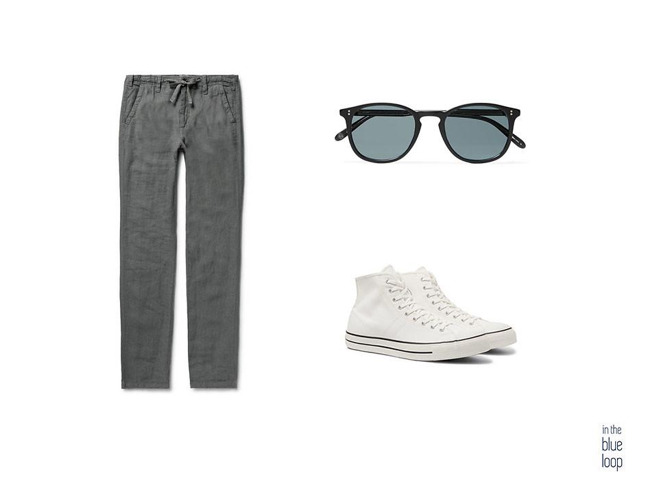 look casual de hombre con pantalones de lino, converse blancas y gafas de sol
