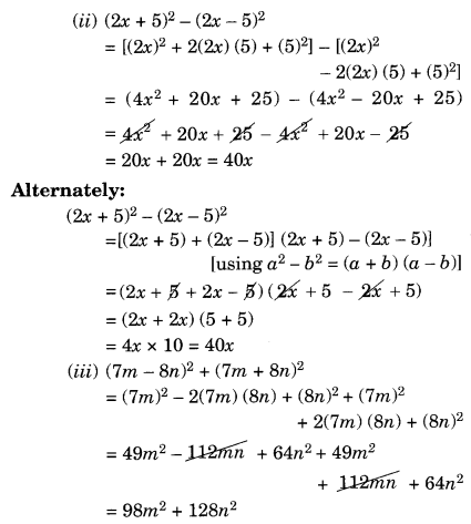NCERT Solutions for Class 8 Maths Algebraic Expressions and Identities Ex 9.5 Q4.1