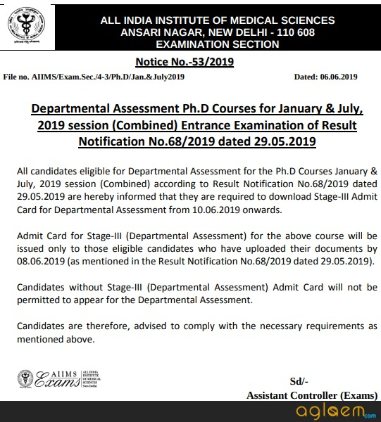 AIIMS PhD 2019 Admit Card / Hall Ticket (Released)   Download Here