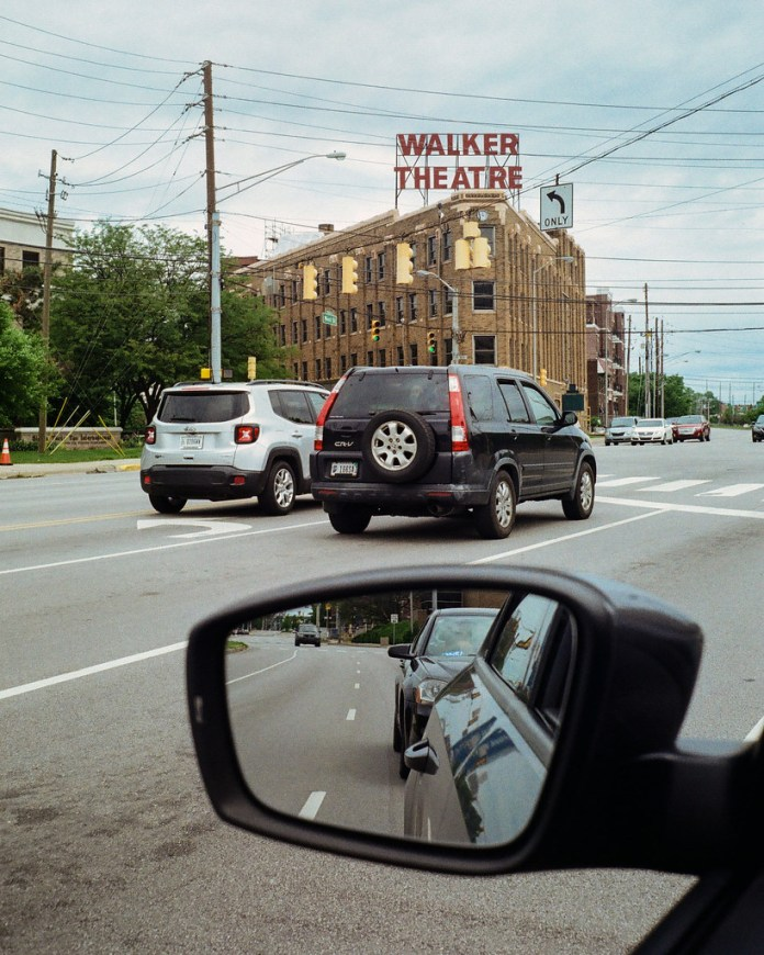 Walker Theatre through the car window