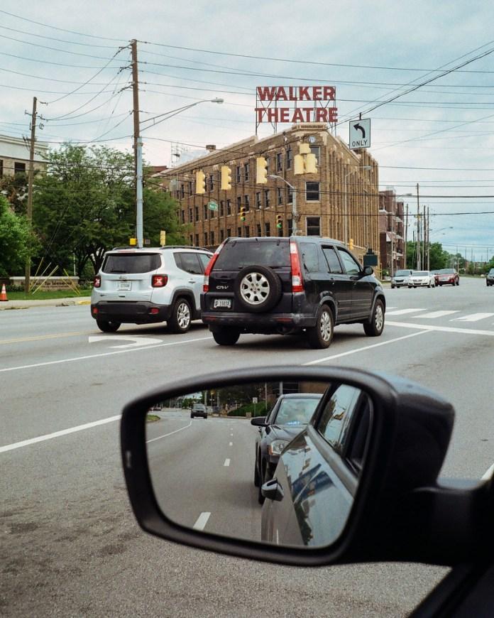 Walker Theatre through the car window