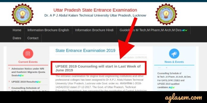 UPSEE Counselling schedule