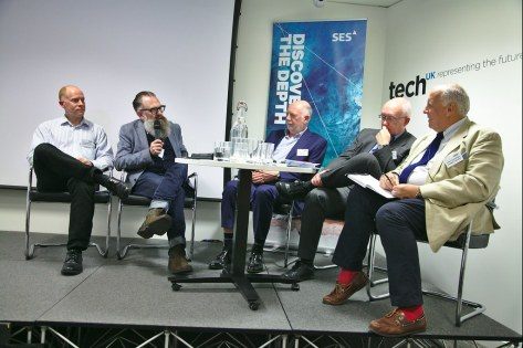"SES Ultra HD Conference, TechUK 13 June 2019 - Panel: ""The 4K Last Mile"" - Richard Moreton, Samsung Electronics R&D Institute UK Business Development and Industrial Affairs, Sean Hannam, freelance retail and technology journalist, Stuart Savage, Director EU Innovation Digital TV R&D, LG Electronics, Chris Forrester, conference chairman, journalist and industry consultant"