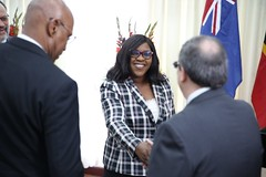 Minister of Foreign Affairs, Hon. Dr. Karen Cummings welcomes Cuban Foreign Minister, HE Bruno Rodriguez Parrilla.