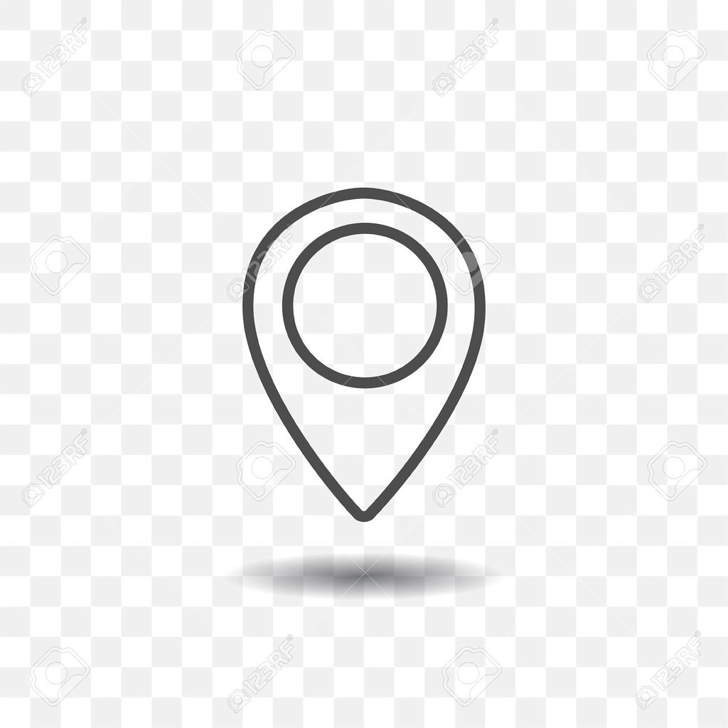 Outlined Map Location Pointer Icon On Transparent Backgrou