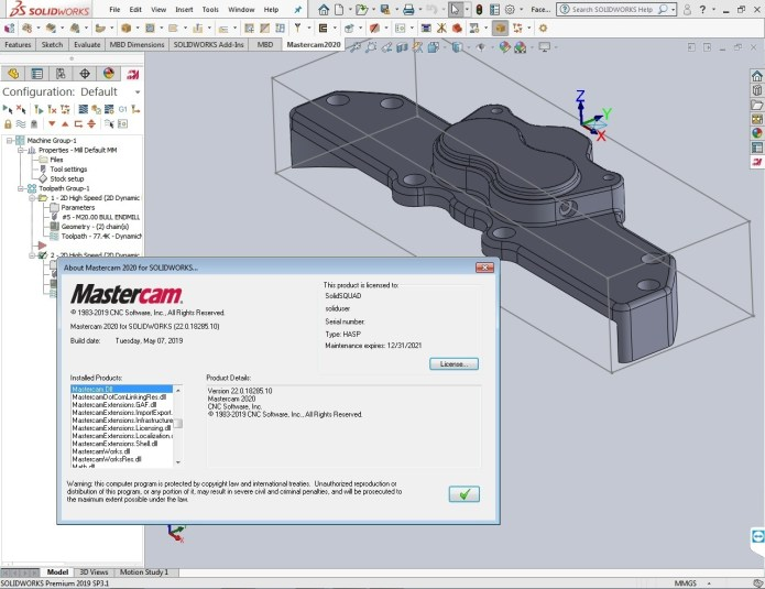 Programming with Mastercam 2020 for SolidWorks 2010-2019 full license