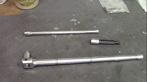 Breaker Bar, 13 mm Socket, 10 mm Serrated Wrench and Extension