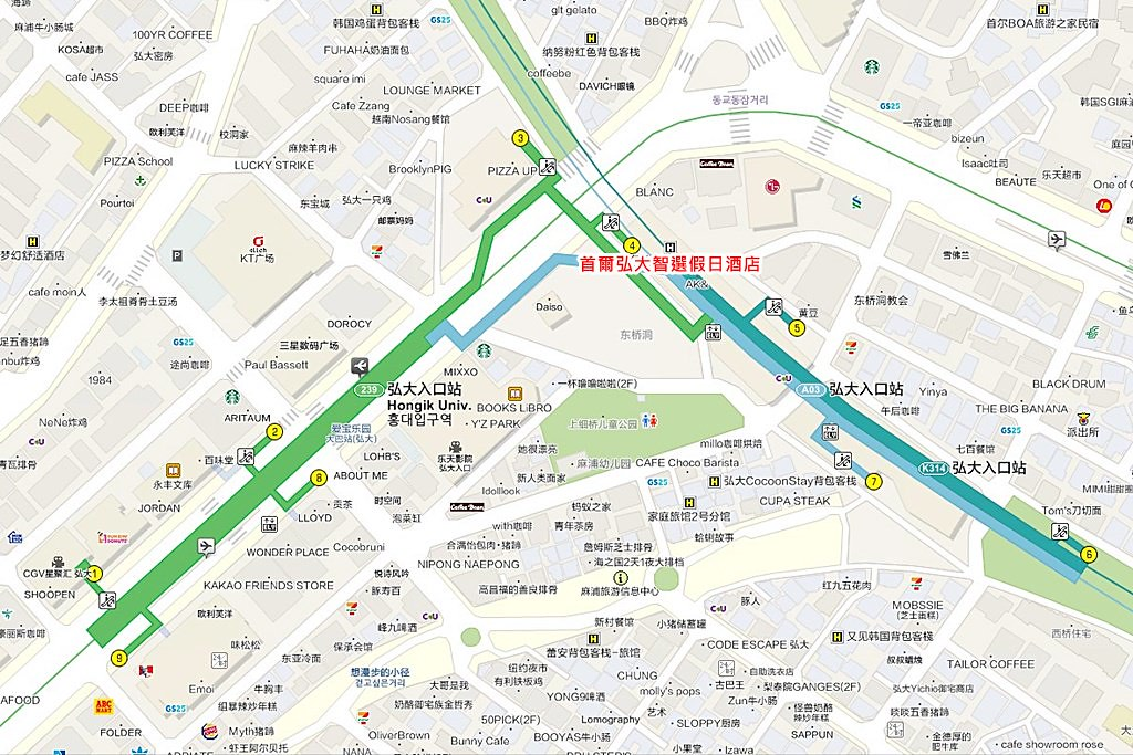 Holiday Inn Express Seoul Hongdae Map