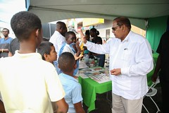 Prime Minister, Hon. Moses Nagamootoo interacts with students of Region 7.