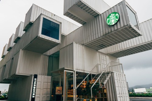 Starbucks in cargo containers in Hualian, Taiwan