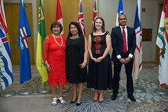Canadian High Commissioner to Guyana, HE Lilian Chatterjee with Minister of State, Hon. Dawn Hastings- Williams officials of the Canadian Embassy.
