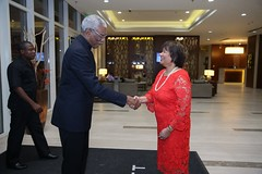 Canadian High Commissioner to Guyana, HE Lilian Chatterjee greets President David Granger.