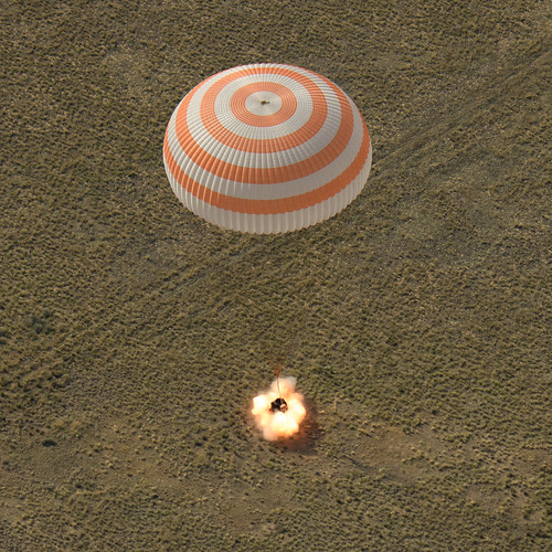 The Soyuz MS-11 spacecraft is seen as it lands with the Expedition 59 crew