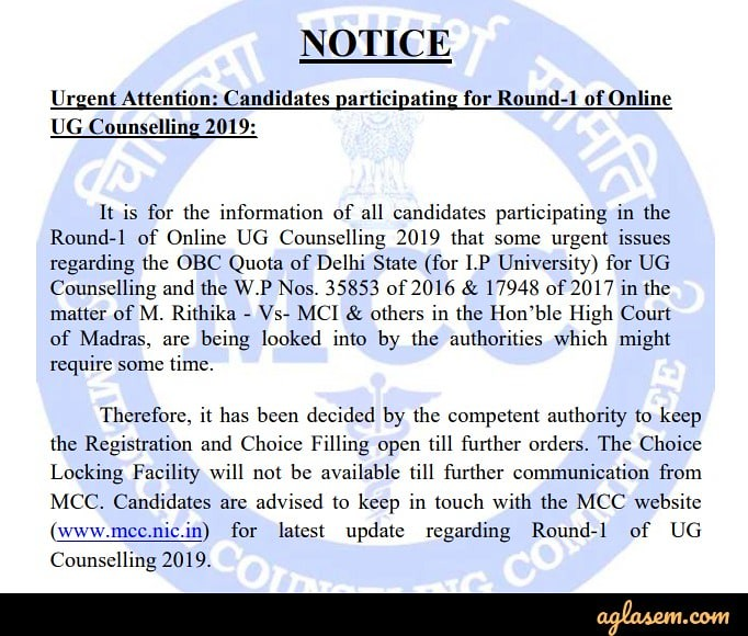 NEET 2019 Counselling: Registration & Choice Filling (Extended), Seat Allotment Result