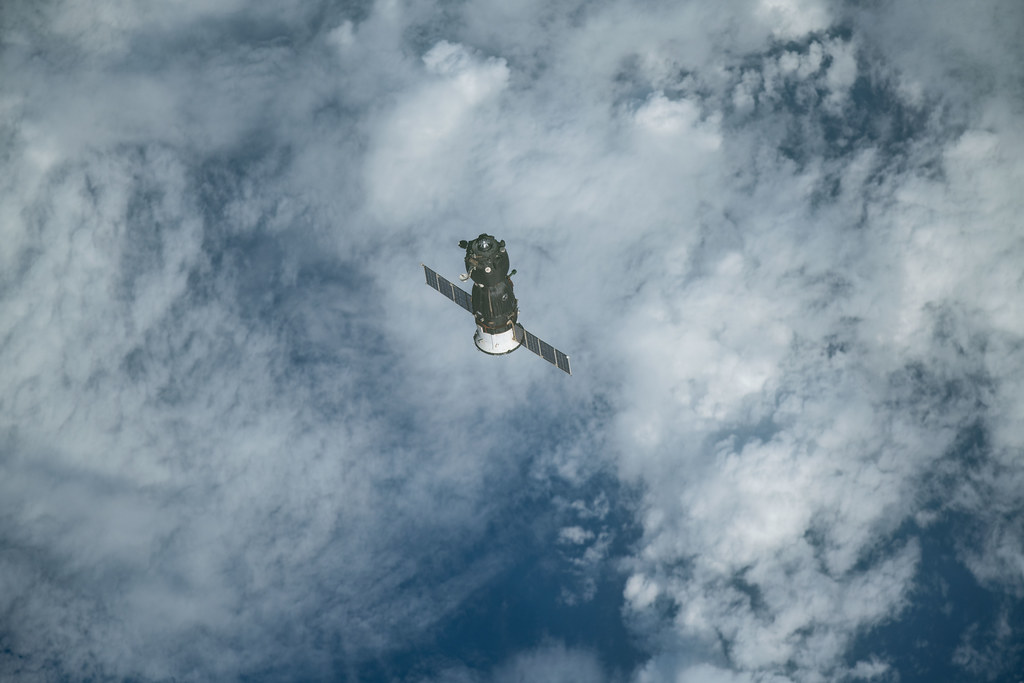 The Soyuz MS-11 crew craft separates from the International Space Station