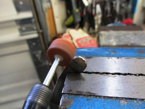 Rounding End with Dremel Stone