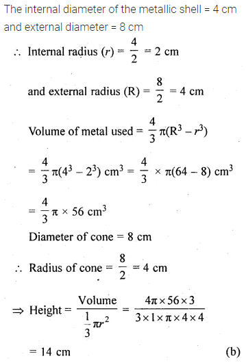 ML Aggarwal Class 10 Solutions for ICSE Maths Chapter 17 Mensuration MCQS Q28