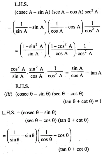 ML Aggarwal Class 10 Solutions for ICSE Maths Chapter 18 Trigonometric Identities Ex 18 Q28.1