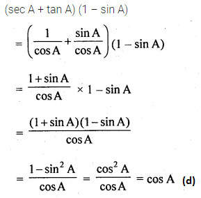 ML Aggarwal Class 10 Solutions for ICSE Maths Chapter 18 Trigonometric Identities MCQS Q5