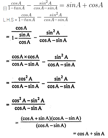 ML Aggarwal Class 10 Solutions for ICSE Maths Chapter 18 Trigonometric Identities Chapter Test Q9