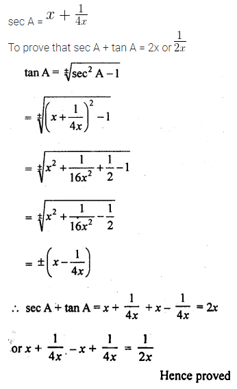 ML Aggarwal Class 10 Solutions for ICSE Maths Chapter 18 Trigonometric Identities Chapter Test Q15