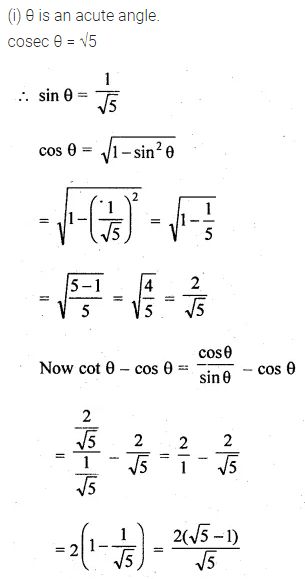 ML Aggarwal Class 10 Solutions for ICSE Maths Chapter 18 Trigonometric Identities Chapter Test Q1