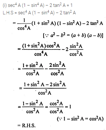 ML Aggarwal Class 10 Solutions for ICSE Maths Chapter 18 Trigonometric Identities Chapter Test Q7