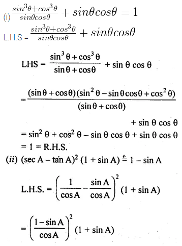 ML Aggarwal Class 10 Solutions for ICSE Maths Chapter 18 Trigonometric Identities Chapter Test Q8