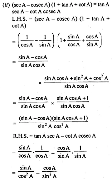 ML Aggarwal Class 10 Solutions for ICSE Maths Chapter 18 Trigonometric Identities Chapter Test Q9.1