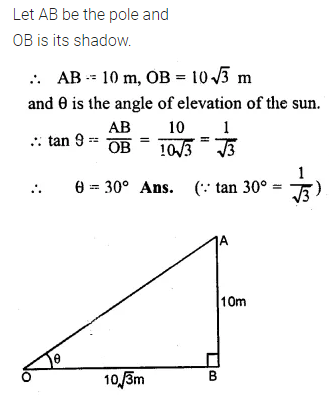 ML Aggarwal Class 10 Solutions for ICSE Maths Chapter 20 Heights and Distances Ex 20 Q1