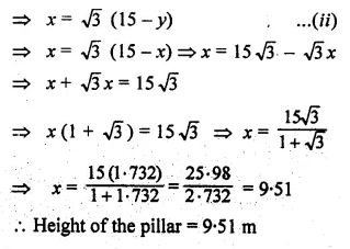ML Aggarwal Class 10 Solutions for ICSE Maths Chapter 20 Heights and Distances Ex 20 Q27.1
